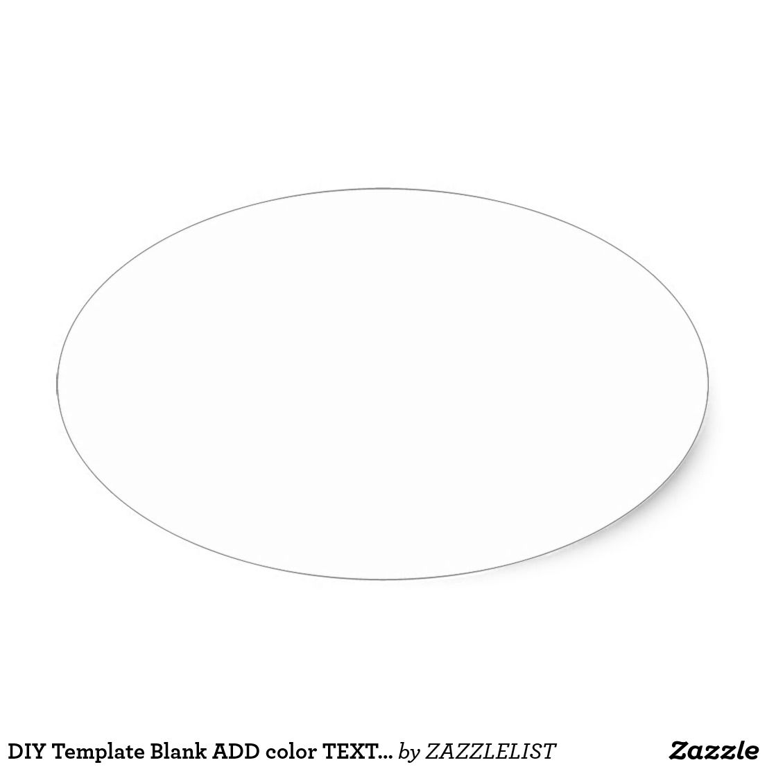 Diy Template Blank Add Color Text Image Photo Gift Oval Sticker