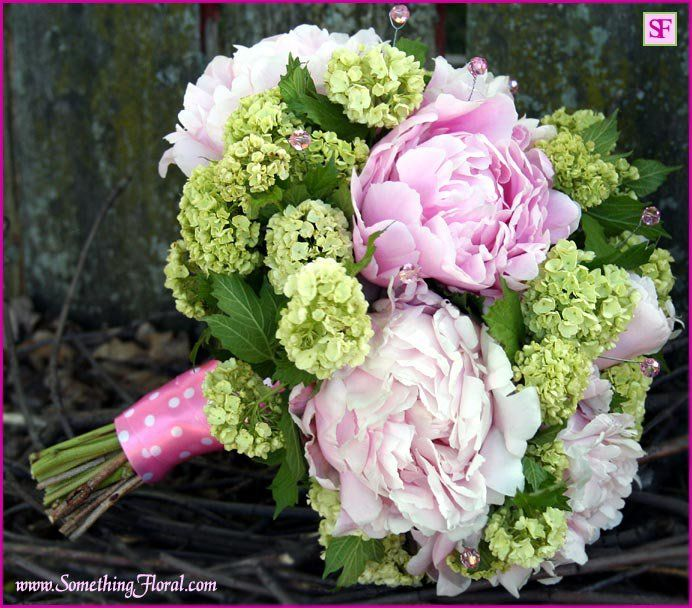 Pretty and feminine, hand-tied, pink peony and green viburnum bridal bouquet designed by Something Floral / Something Spectacular, Warren, Michigan. The bouquet features a pink and white polka dot satin stem wrap and genuine, pink Swarovski crystals. #wedding #bridal #bouquet #peony