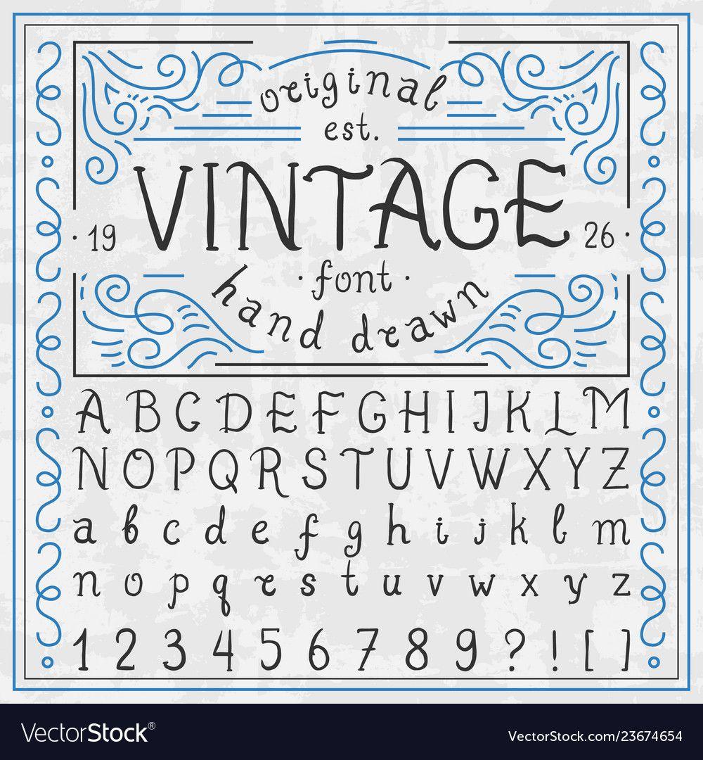Vintage whiskey font handwritten alphabet letters Vector