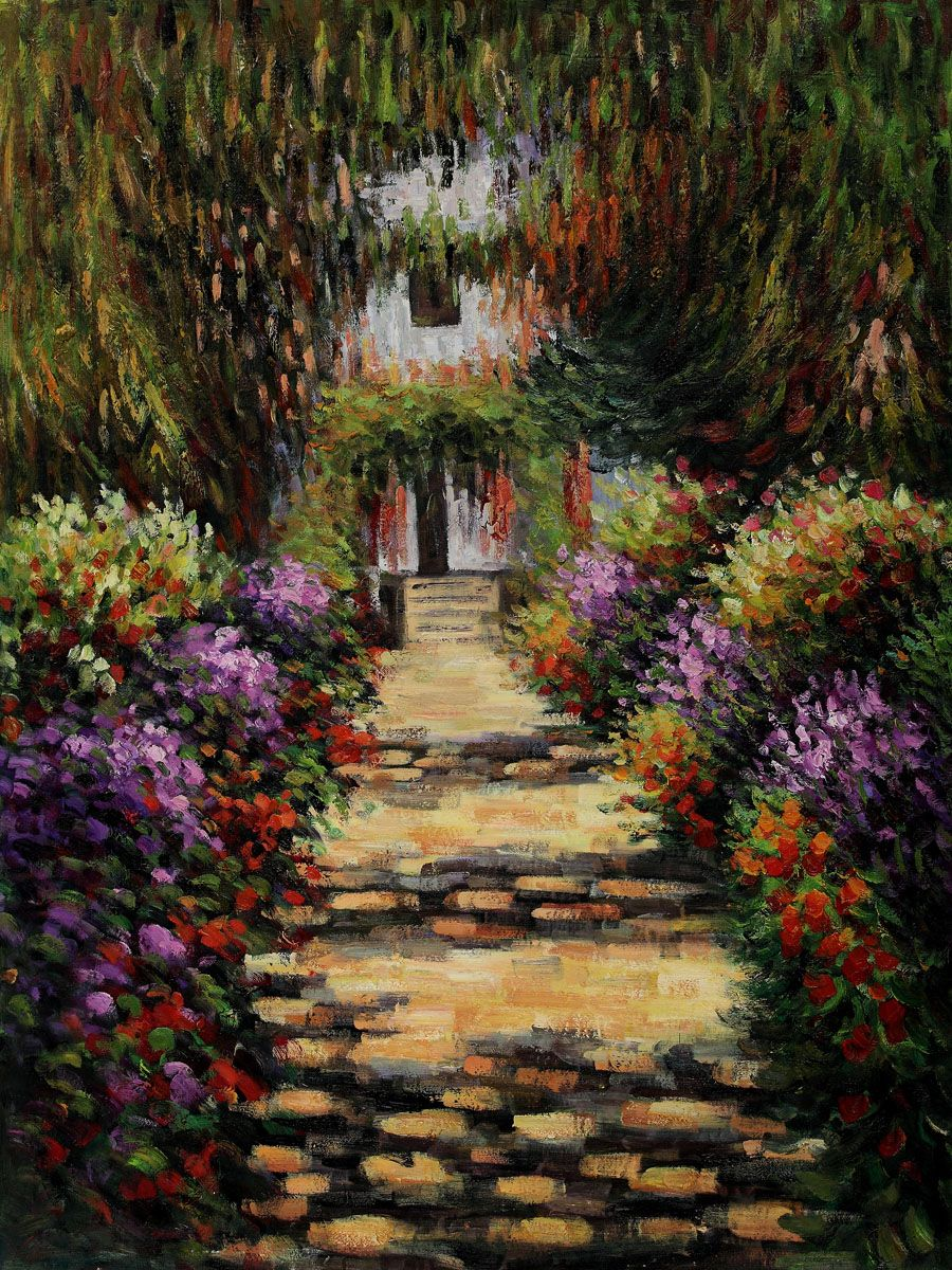 Claude Monet, Garden Path at Giverny - Hand Painted Oil Painting on ...