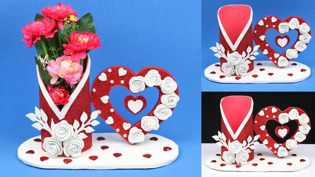 Beautiful Home Decoration Idea Using Foam Sheet And Cardboard Home Dec Cardboard Crafts Diy Foam Sheets Diy Valentines Crafts