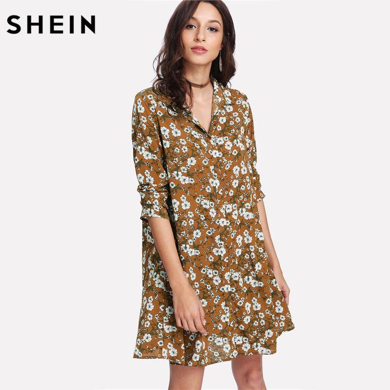 3712be7e SHEIN Casual Dress Women 2018 Daisy Print Shirt Dress Spring Ladies  Multicolor Long Sleeve lapel Floral