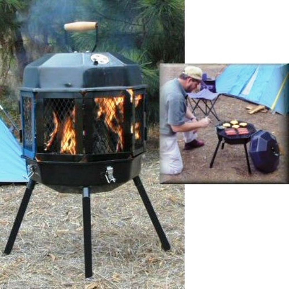 portable fire pit grill u0026 wood burner outdoor fire place camping
