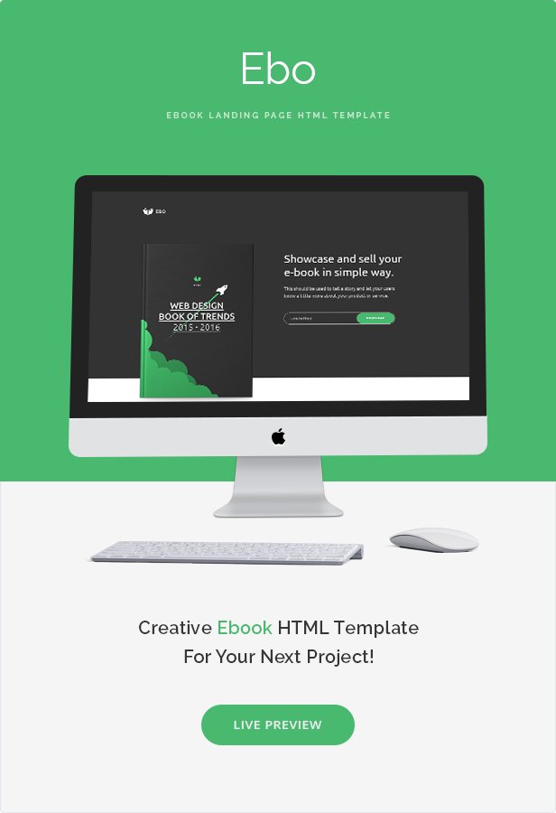 Ebo Ebook Landing Page HTML Template Pinterest Template - Simple landing page html template