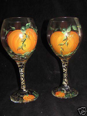 Hand Painted Fall Pumpkin Thanksgiving Wine Glasses New Design Wine Glass Art Hand Painted Wine Glasses Thanksgiving Wine