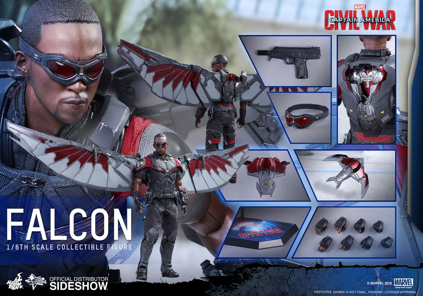 Marvel Falcon Sixth Scale Figure By Hot Toys Sideshow