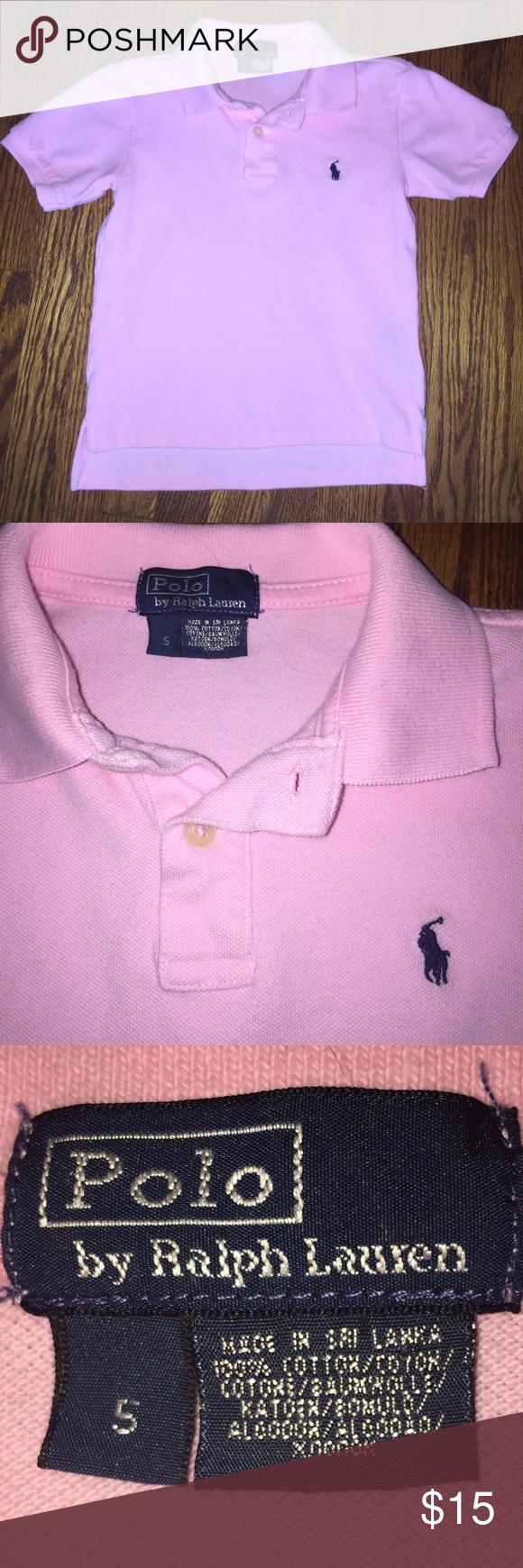 Boys' Polo by Ralph Lauren polo shirt...Size 5 Boys' pink polo shirt by Polo by Ralph Lauren...Size 5...in excellent condition from a smoke free home! Polo by Ralph Lauren Shirts & Tops Polos