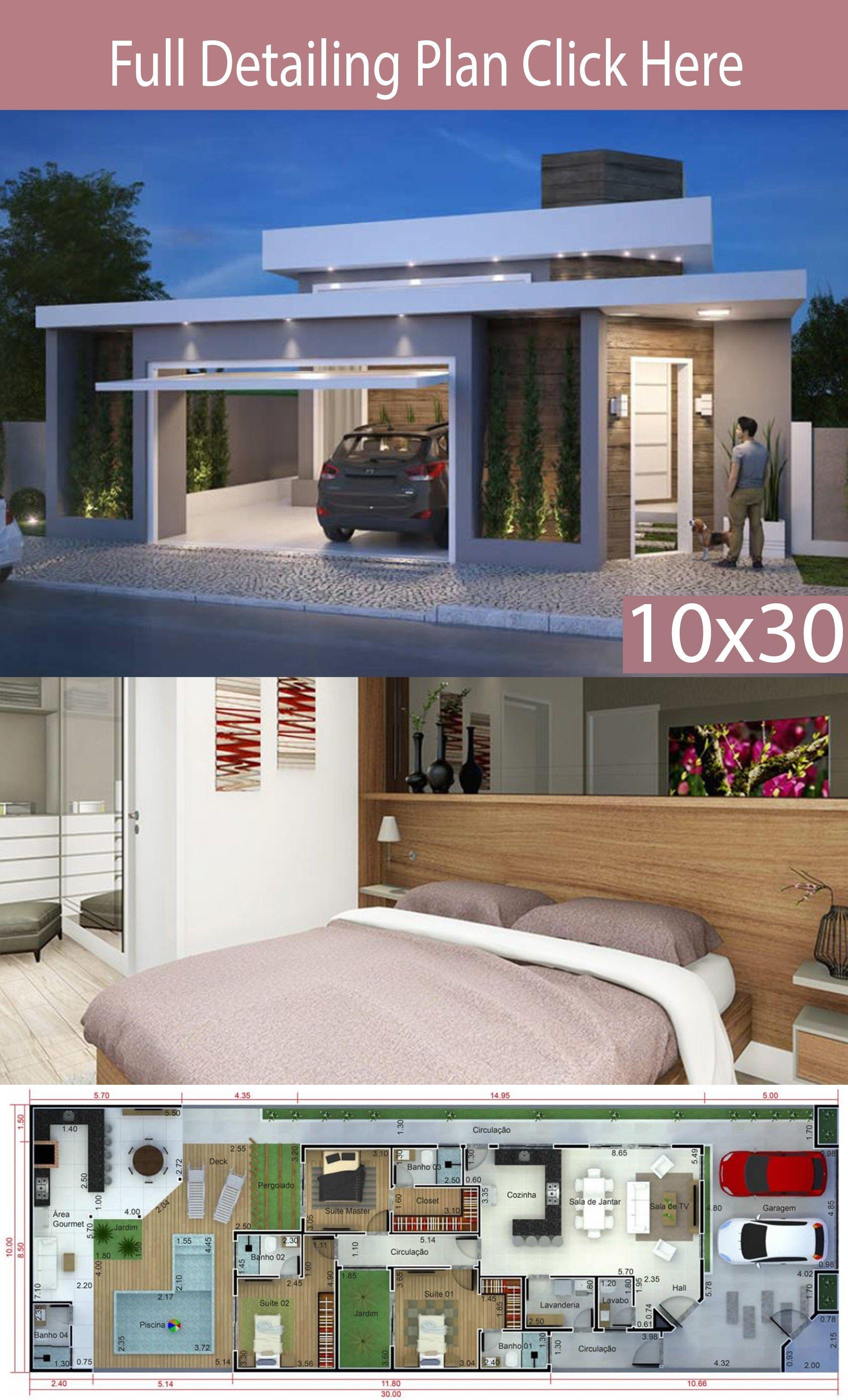 Home Design 10x30m With 3 Bedrooms Em 2020 Plantas De Casas Planta De Casa Terrea Casas