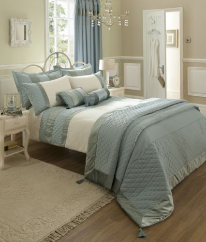 catherine lansfield duck egg king size blue duvet cover and pillowcases bed set ebay