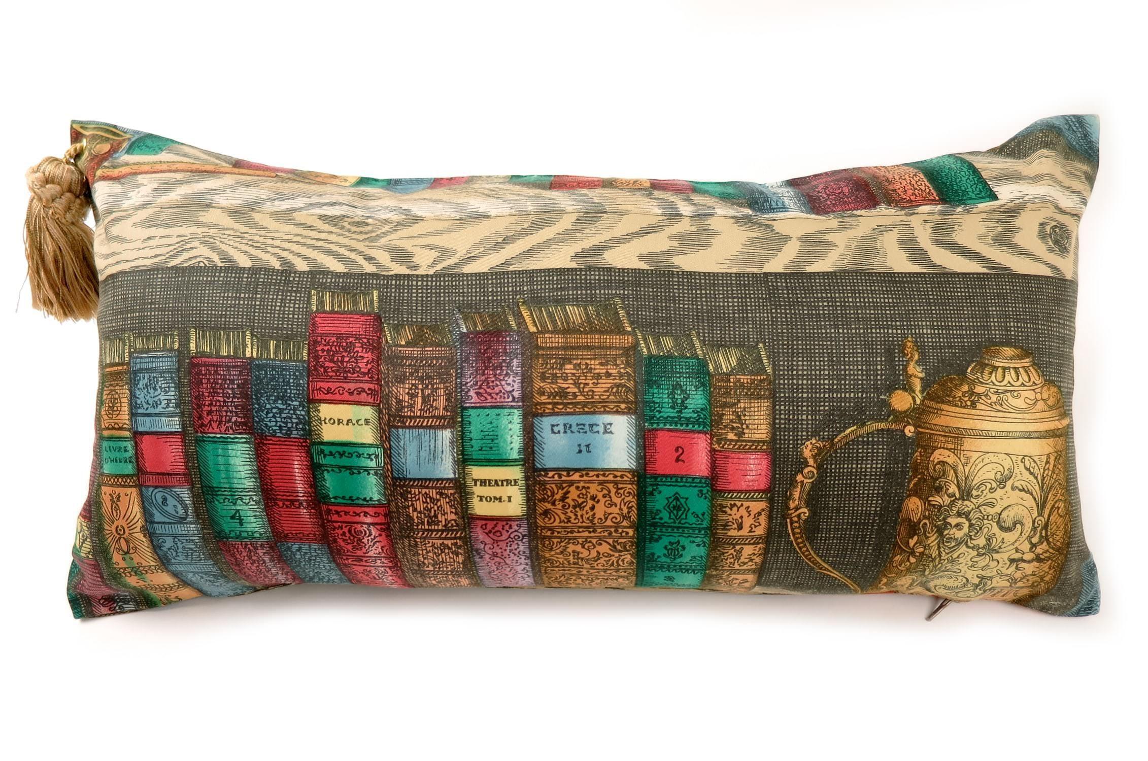 ピエロフォルナセッティヴィンテージクッション Piero Fornasetti 書棚 03 #cushion #cushioncover #クッション #クッションカバー #ヴィンテージ #アンティーク #vintage