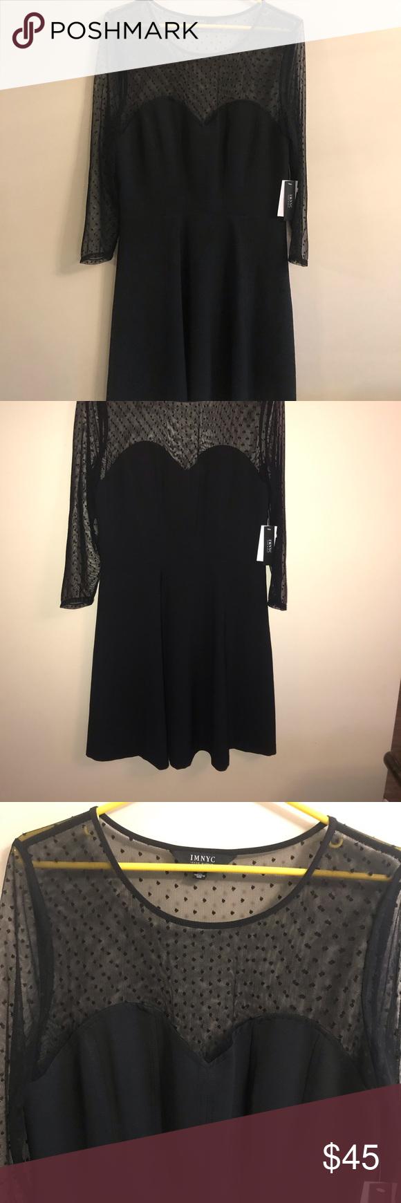 Nwt Black Dress With Sheer Polka Dot Detail Beautiful Dress New With Tags Black With Sheer Black Polka Dot Top And Arms D Clothes Design Fashion Black Dress [ 1740 x 580 Pixel ]