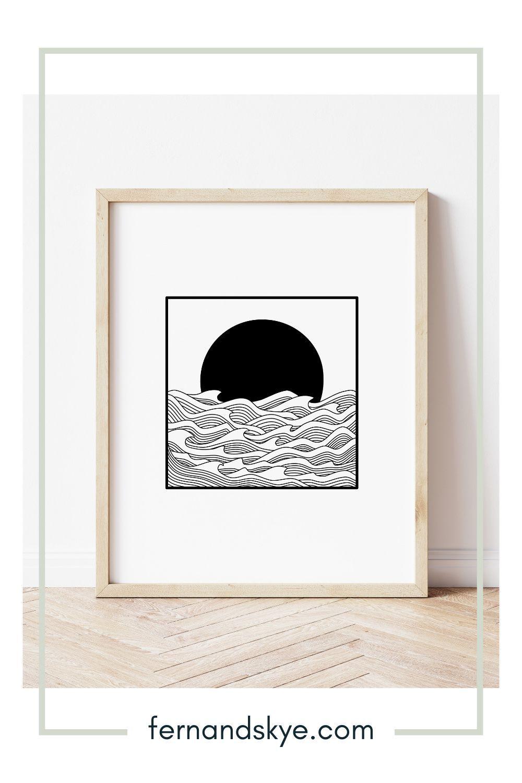 Ocean Sunset Line Art Print - Black & White | Fern and Skye