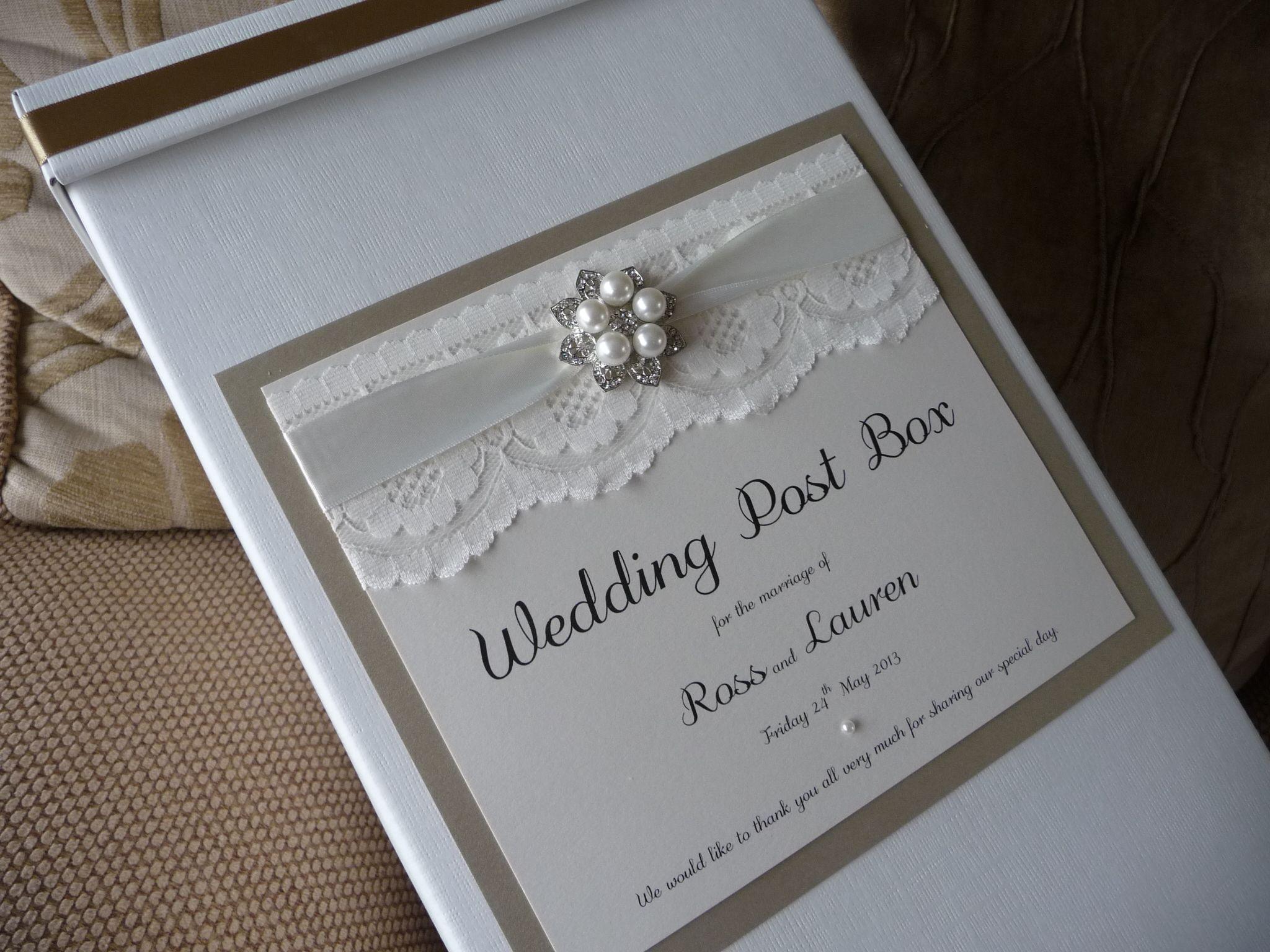 Wedding post box decorations  Luxury Ivory u Gold vintage style Wedding Card Post Box  Postboxes