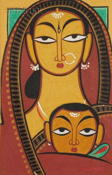 Jamini Roy Mother Child | India | Jamini roy, Indian art
