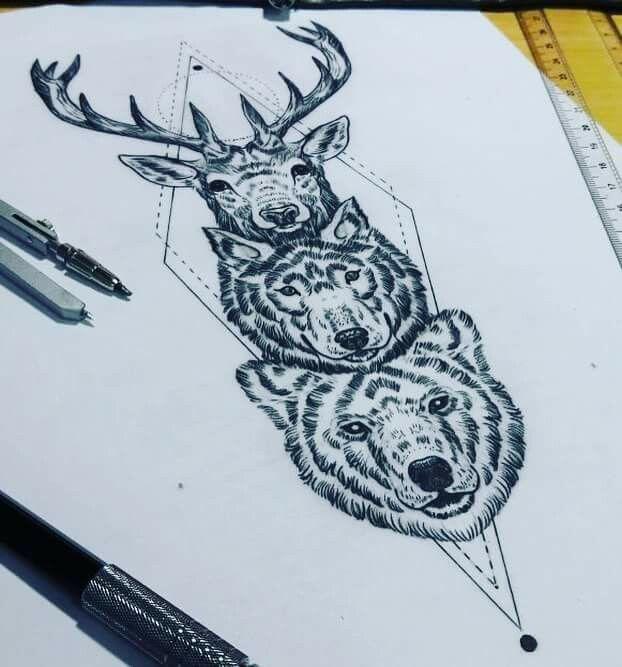 Tattoo Tatuagem Ink Inked Bodymodification Alineymarques Blackandwhite Bear Deer Animals Wolf Totem Totem Tattoo Elephant Tattoos Animal Tattoos
