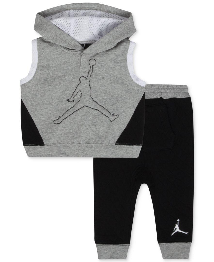 d9d95c426 Jordan Baby Boys  2-Piece Sleeveless Hoodie   Pants Set