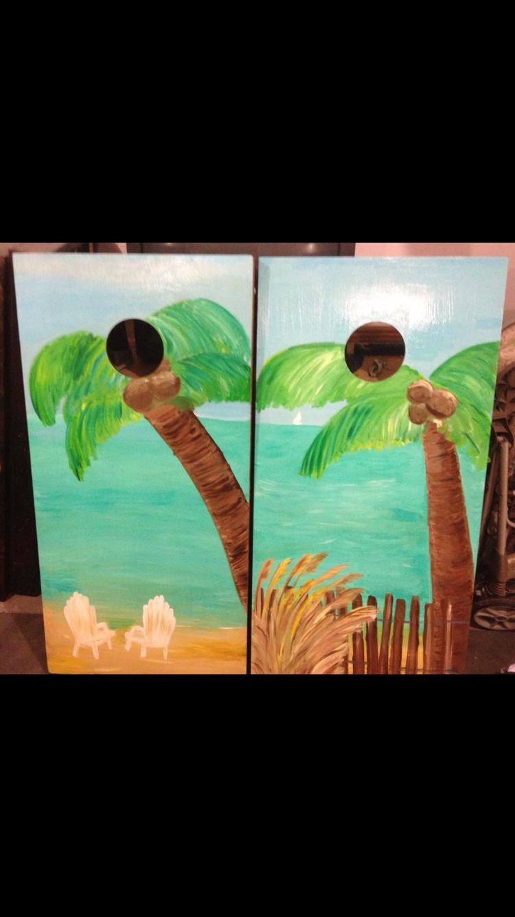 L&J Cornhole Hand painted artwork Find us on Facebook!