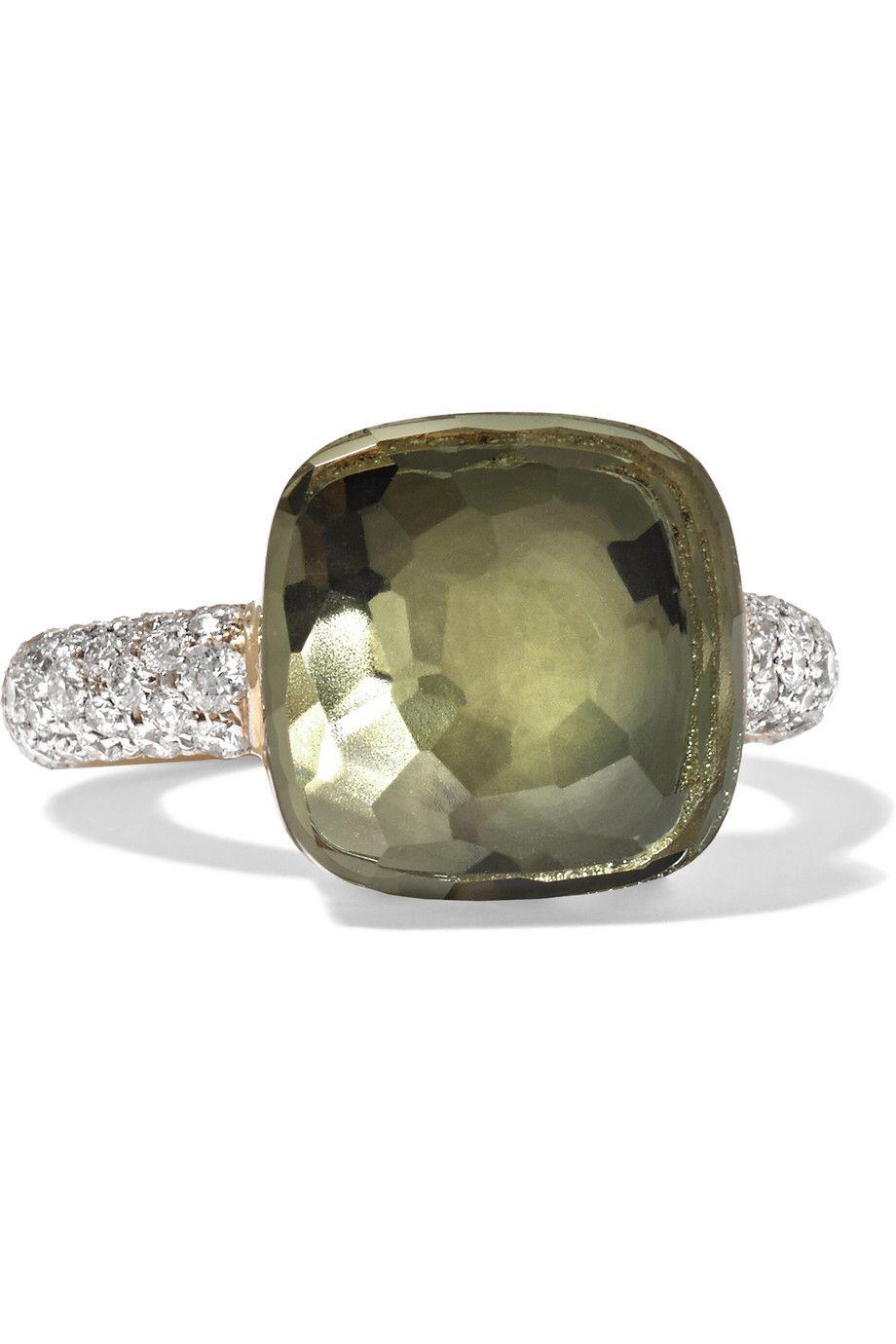 POMELLATO Nudo 18-karat Rose And White Gold, Prasiolite And Diamond Ring