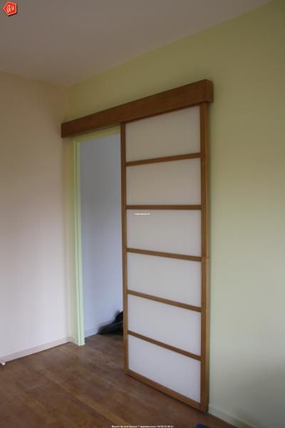 Pose de porte en galandage façon cloison japonaise maison