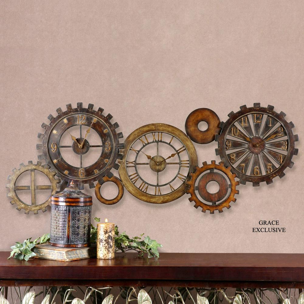 Global Direct 21 In X 54 In Mechanical Parts Wall Clock 06788 The Home Depot Wall Clock Big Wall Clocks Clock Wall Decor