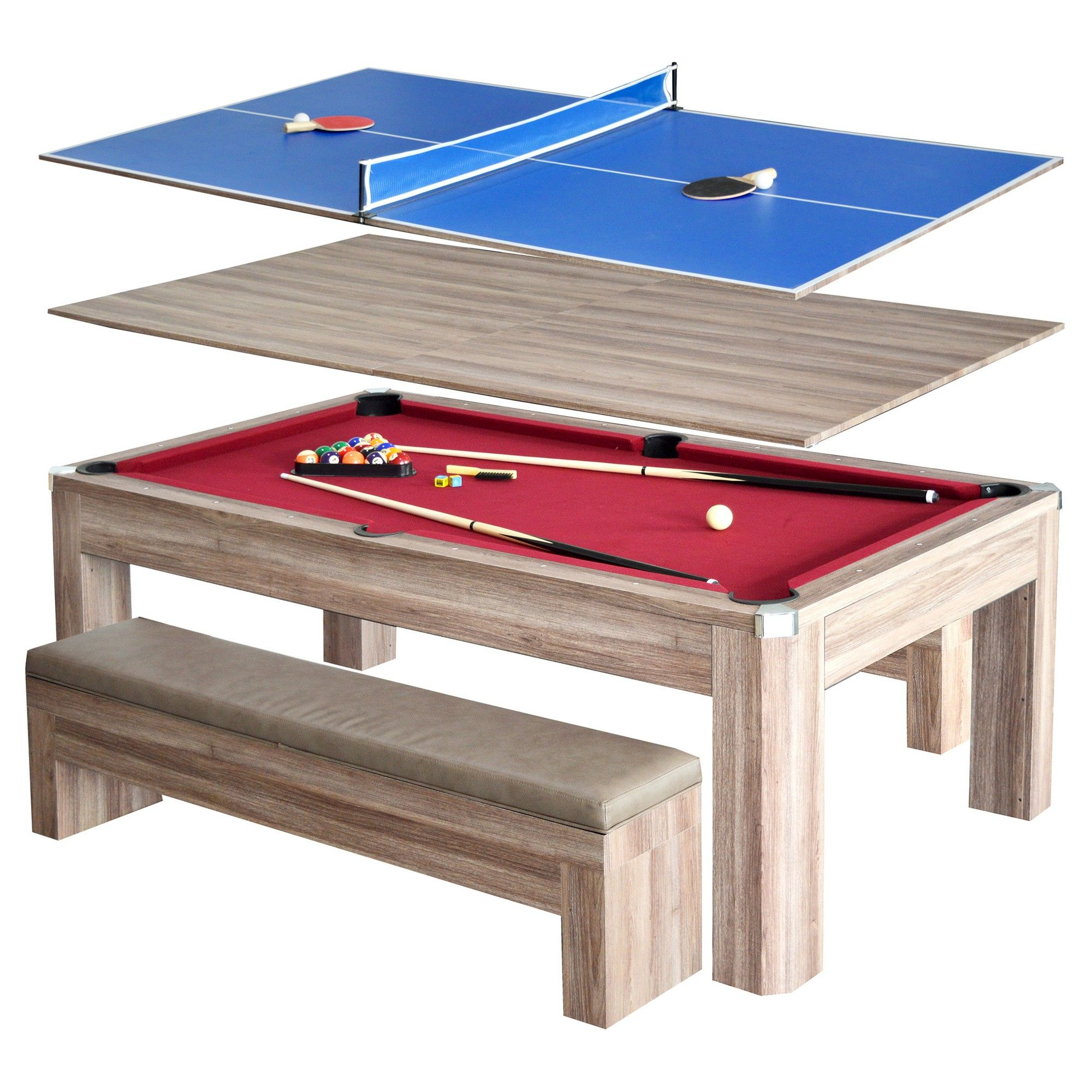 Pool Table Dining Room Table: Newport 7-ft Pool Table Combo Set W/ Benches
