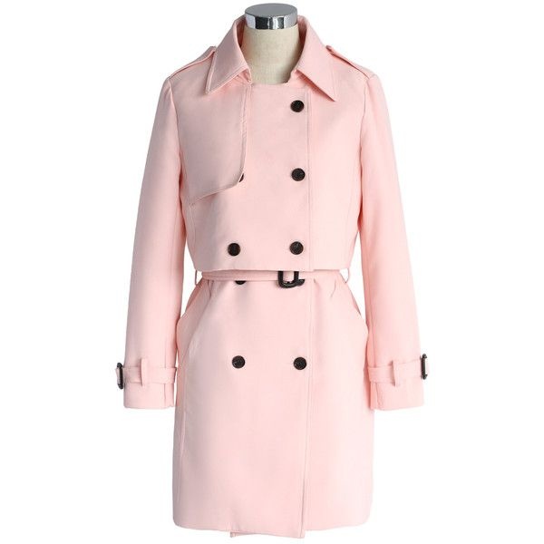 Chicwish Creamy Pink Double-breasted Twinset Trench Coat (275 SAR) ❤ liked on Polyvore featuring outerwear, coats, pink, double breasted belted coat, trench coat, cropped coat, pink coat and pink double breasted coat
