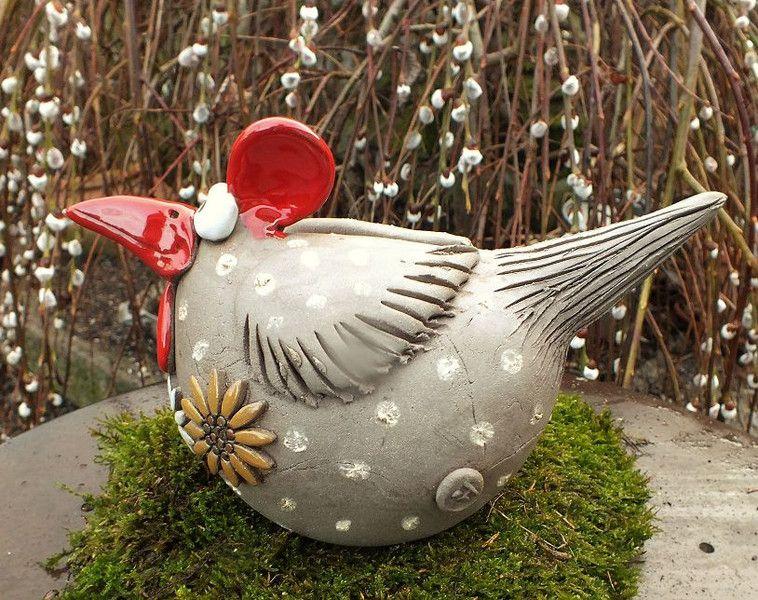 gartenkeramik skulptur huhn gr l vogel henne hahn. Black Bedroom Furniture Sets. Home Design Ideas