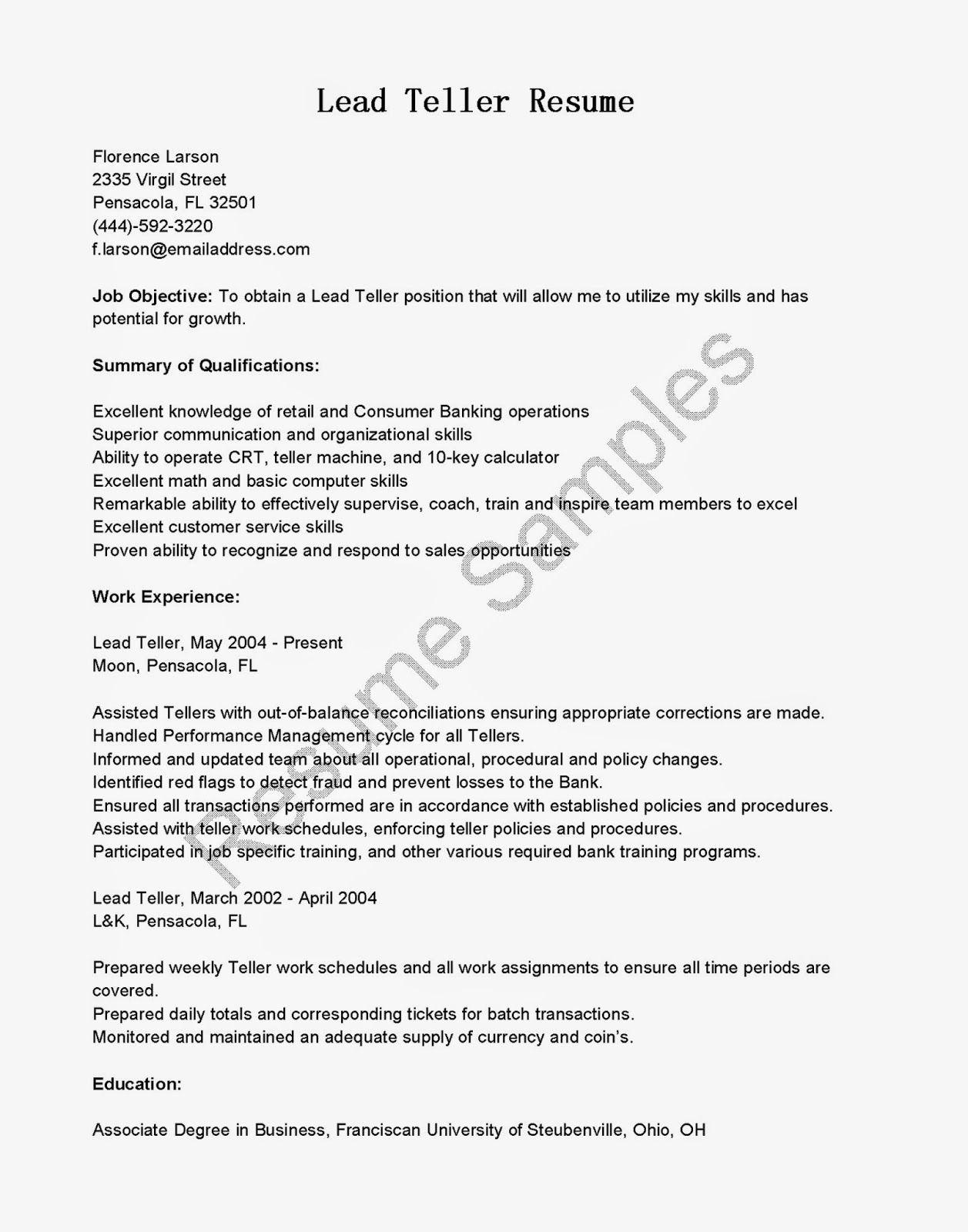 Resume Samples For Bank Teller Position Best Banking Example