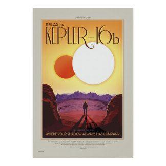 NASA Retro ExoPlanet Tour Kepler-16b Travel Poster | Zazzle.com