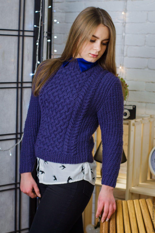 купить укороченный джемпер черничного цвета тёмно фиолетовый