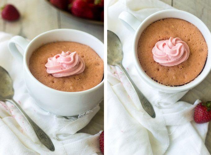 Strawberry Protein Mug Cake - Healthy, fluffy, protein-packed cake in under 5 minutes  that isn't spongey AT ALL!   Foodfaithfitness.com   #mugcake #healthysnack #recipe #proteinmugcakes