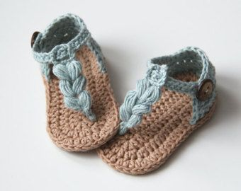 809c790d73ba1 VALENTINA Crochet Baby Girl Espadrilles, Cotton, Ice Blue and Cream ...