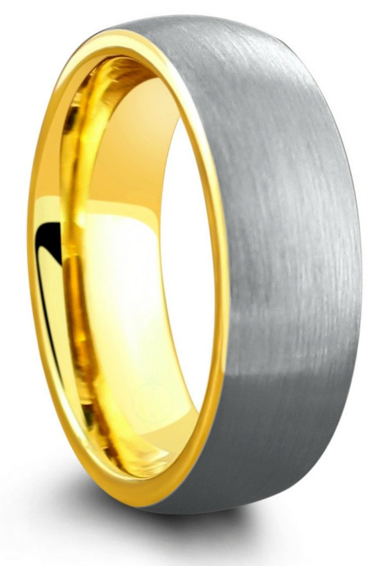 Yellow Gold Plated Brushed Tungsten Wedding Band Brushed Tungsten Wedding Band Gold Tungsten Wedding Bands Mens Wedding Rings Tungsten