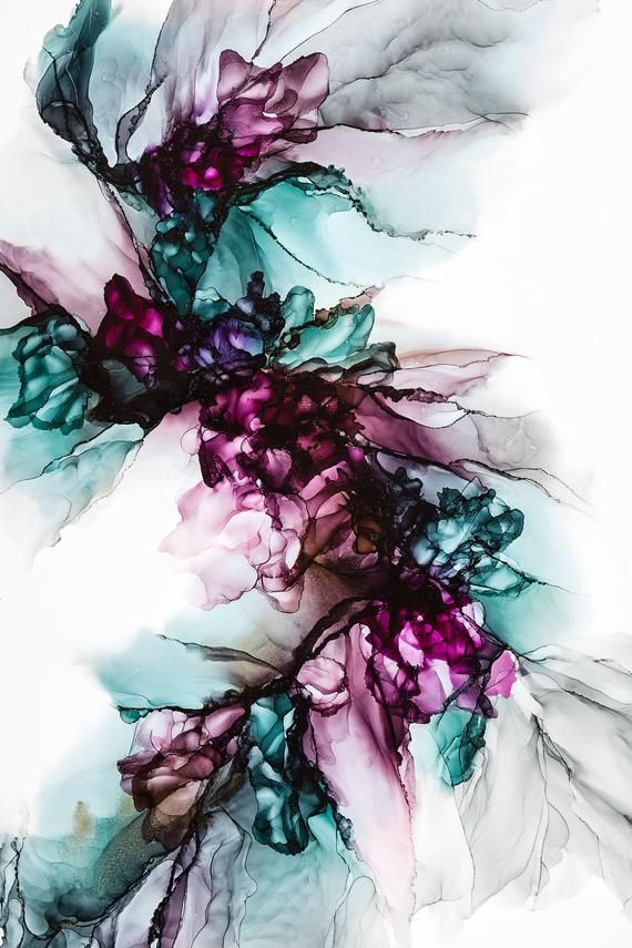 Teal, Rose, Gray Abstract Alcohol Ink Painting, Mo