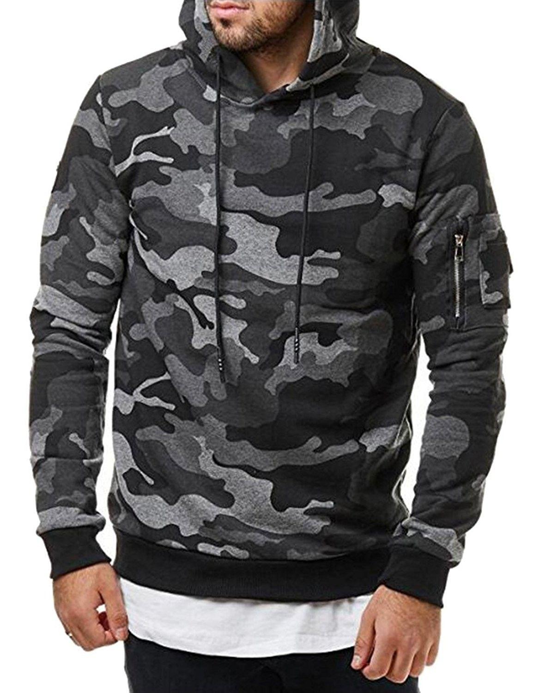 Mens CROSSHATCH Pull Over Camouflage Black Green Hooded Hoodie Top Sweatshirt