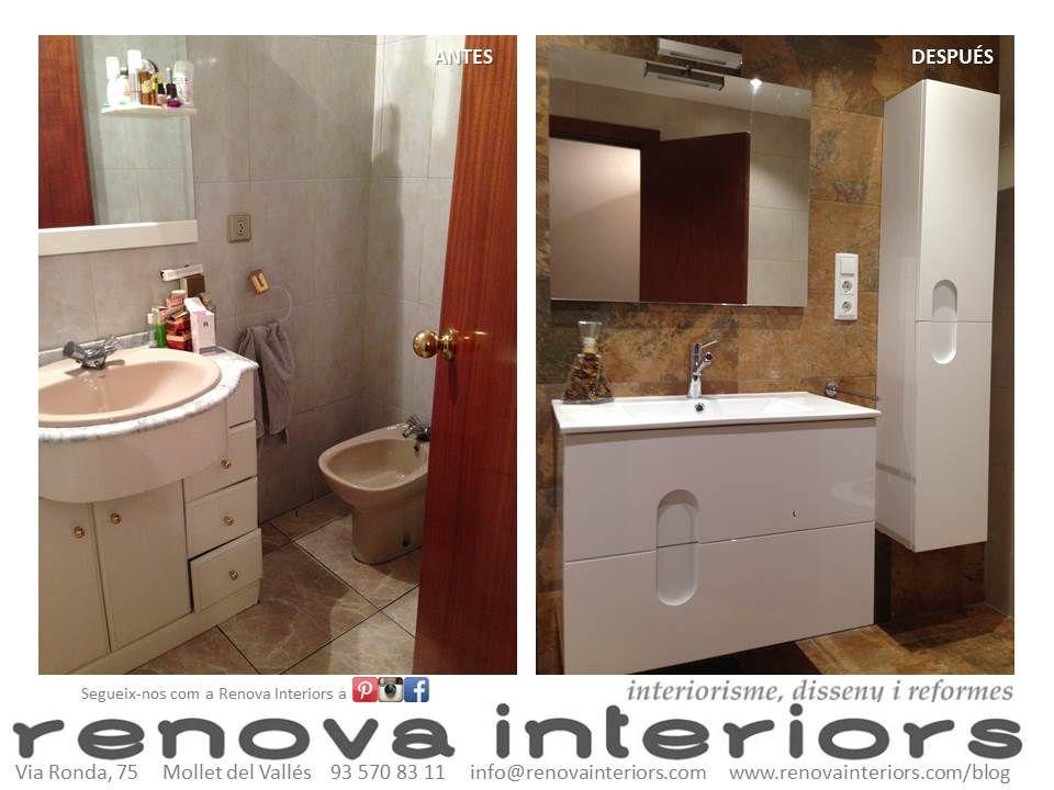 Antes y Después. Reforma baño. Pared Pizarra verde, mobiliario blanco brillo. https://www.facebook.com/pages/Renova-Interiors/509602039094184