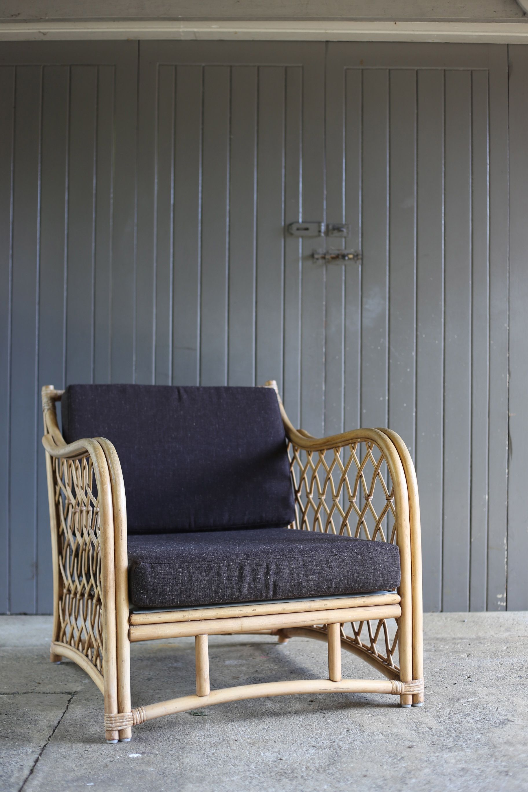 Superb #retro #cane #chair #grey #squabs X2 With #matchingcouch #placesandgraces