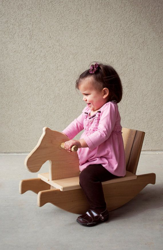 wooden toy rocking horse mod toddler riding by littlesaplingtoys