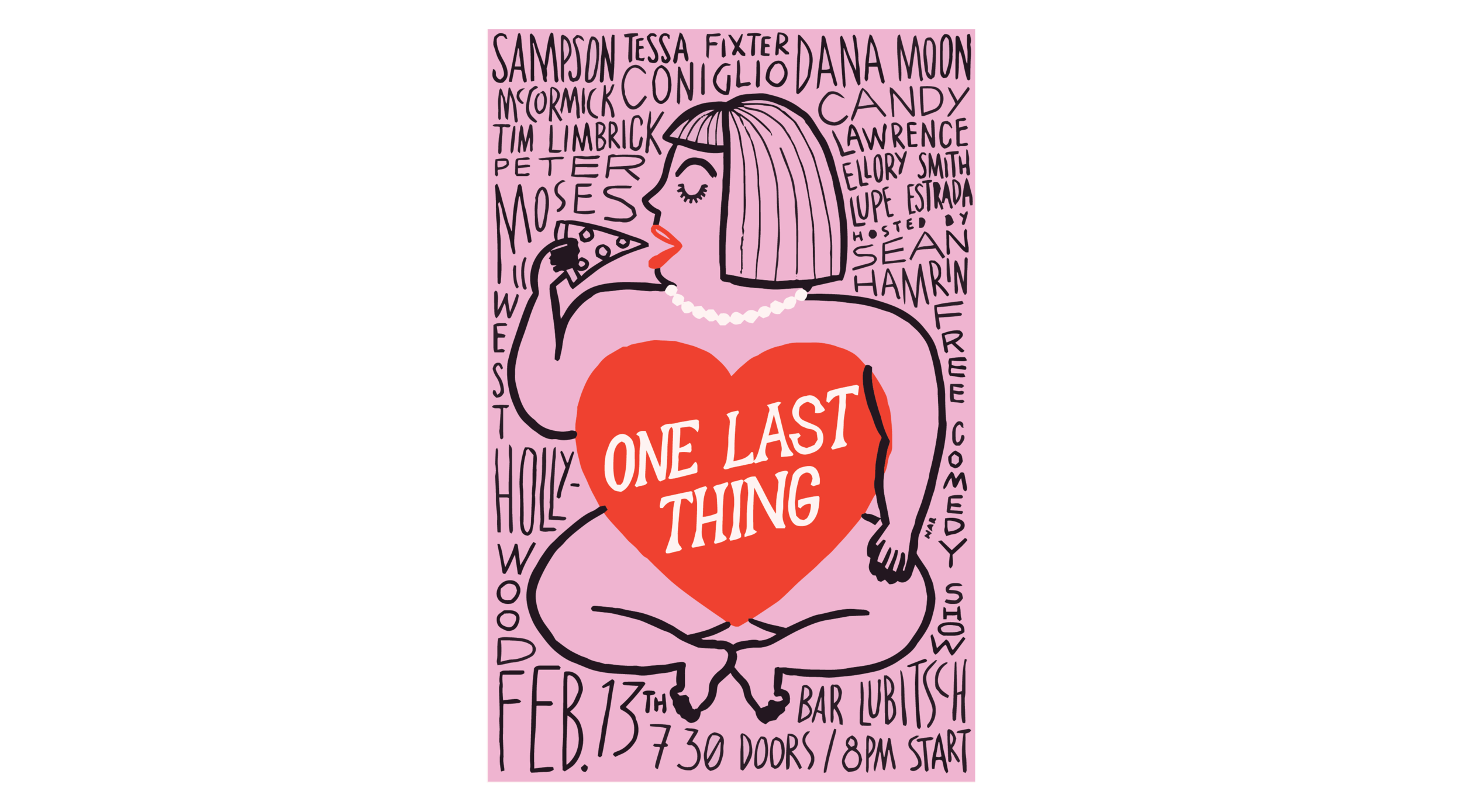 Poster illustration for One Last Thing comedy based in Las
