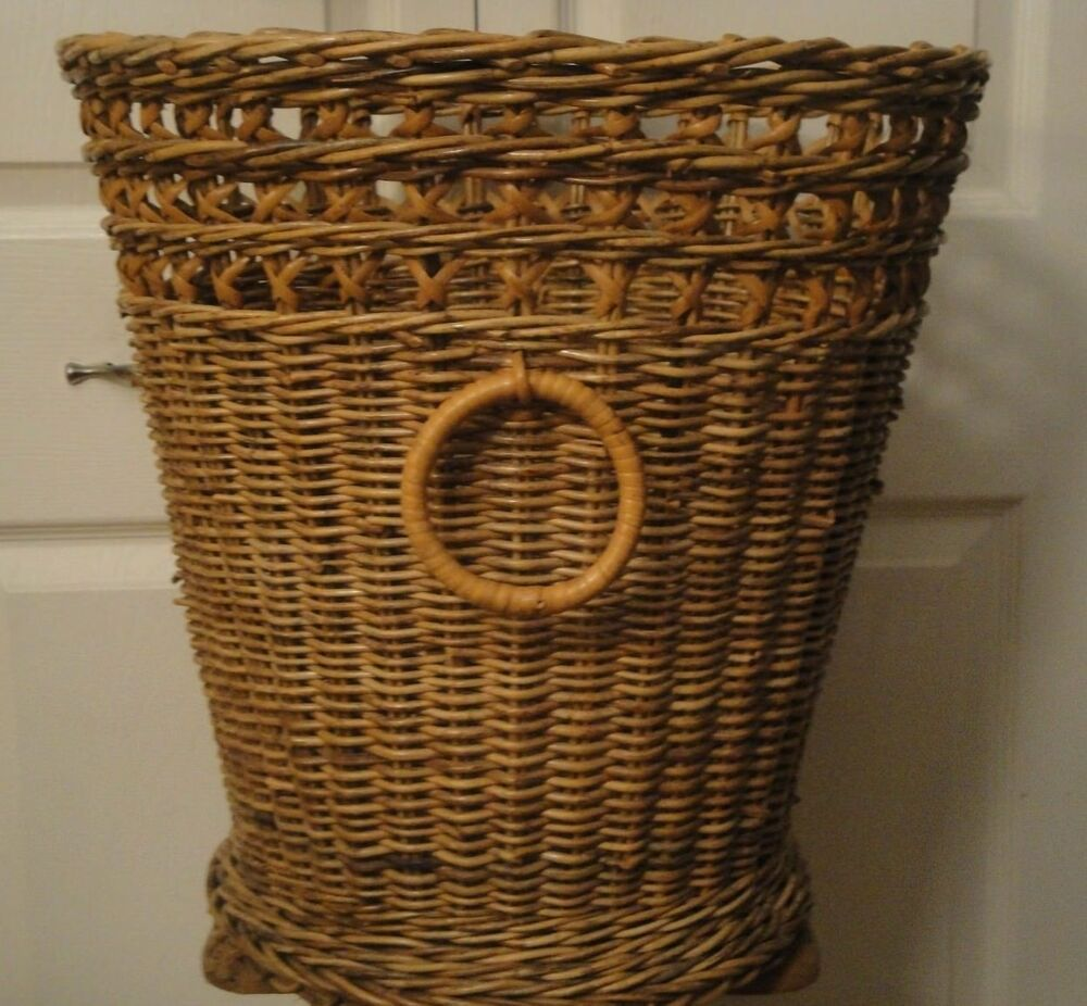 Vtg Wicker Laundry Basket Hamper Storage Bin French Country Style Loop Handles Ebay Hamper Storage Wicker