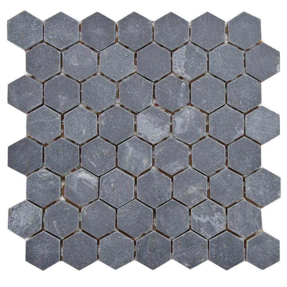 Merola Tile Crag Hexagon Black 11 18 In X 11 18 In X 10 Mm Slate