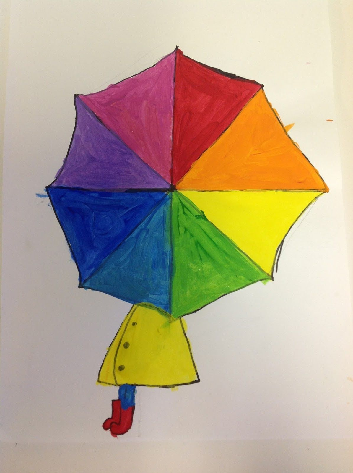 Color wheel art lesson for second grade - Color Wheel Umbrellas Grade For Kindergarten Could Just Draw The Umbrella Handle Instead Of The Person