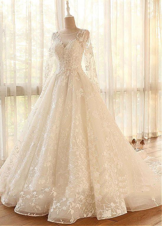 [200.10] Romantic Tulle Jewel Neckline A-line Wedding Dresses With Lace Appliques & Beadings – magbridal.com.cn – Gelinler ve Düğün Hazırlıkları