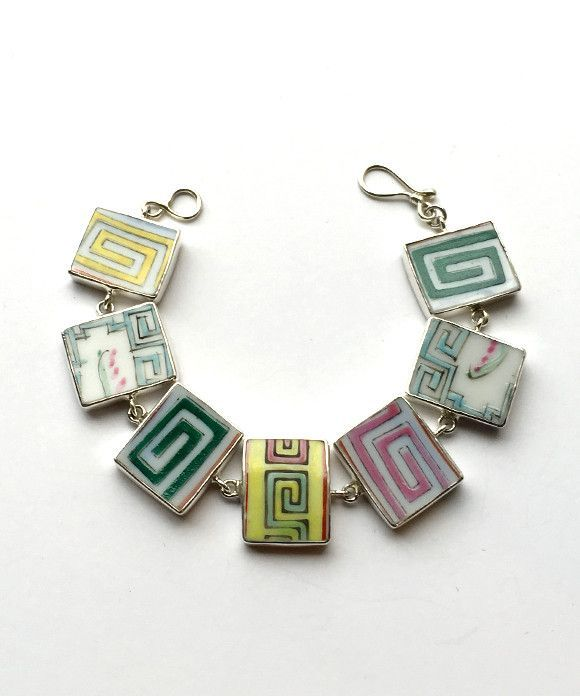 """Bold Graphic Vintage Pottery Rectangle Bracelet- Size 7"""""""