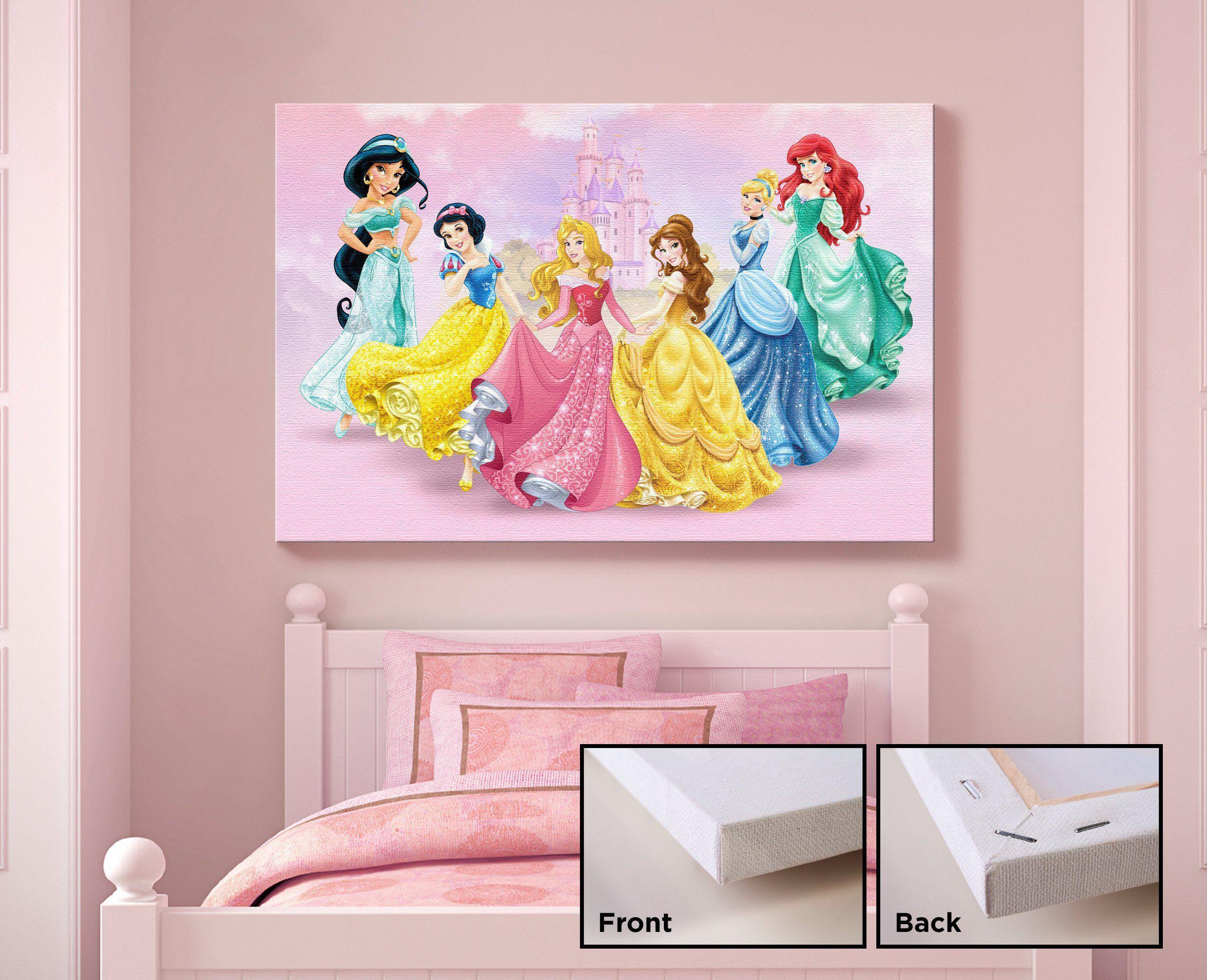 Disney Princess Canvas Print Kids Bedroom Wall Art Kids Gift Etsy Kids Bedroom Wall Art Kid Room Decor Hanging Canvas
