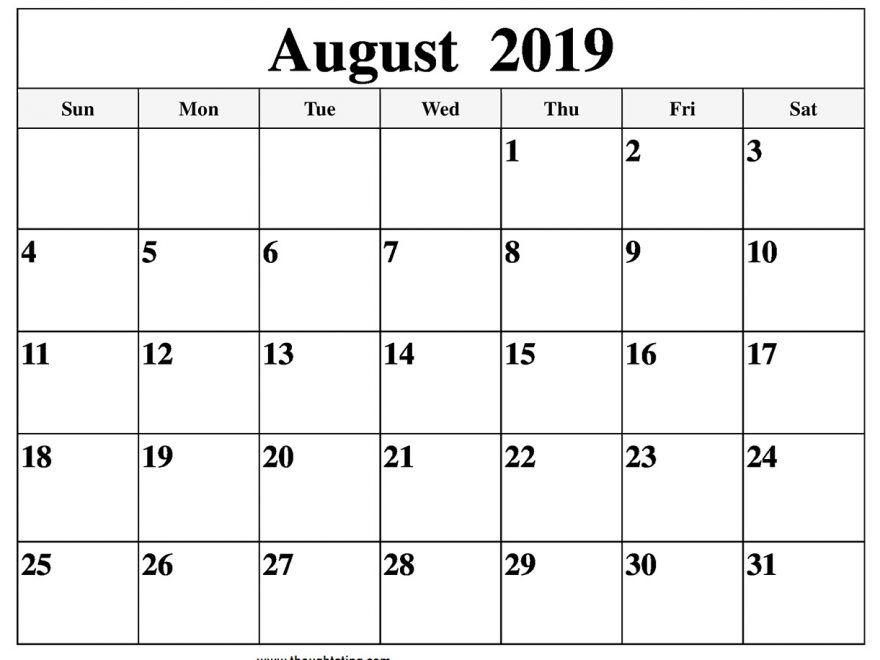 August 2019 Calendar Printable Template Pdf Word Excel