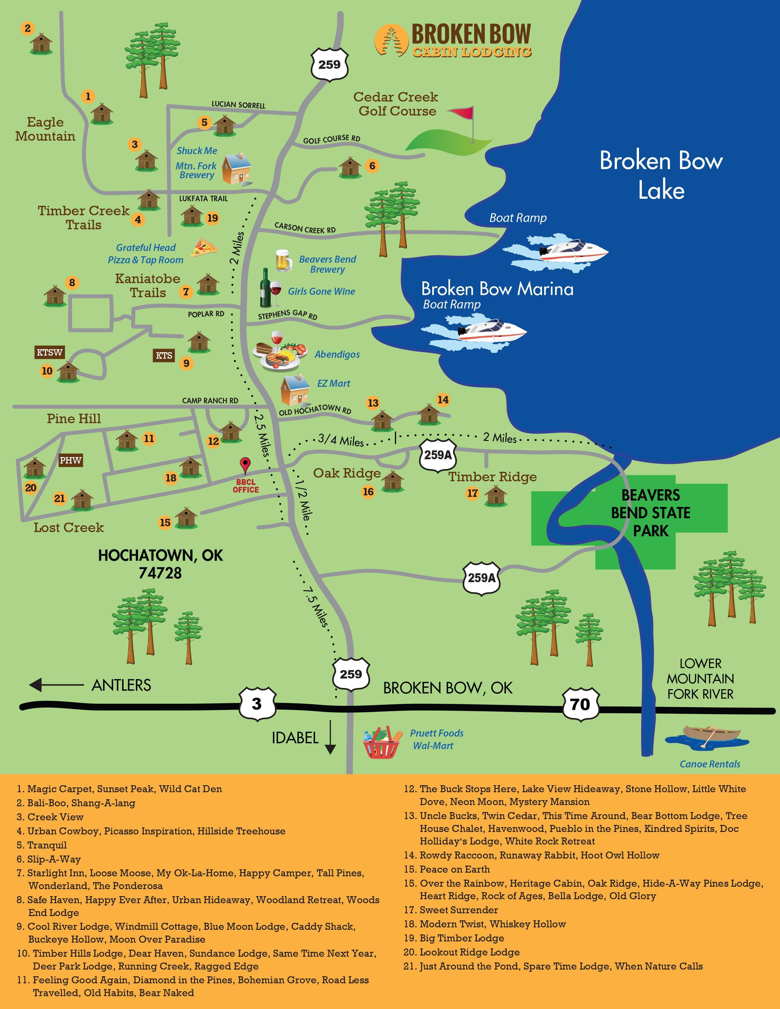 Oklahoma Information Broken Bow Maps Broken Bow Cabin