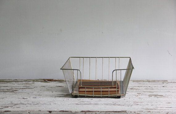 vintage industrial wire basket, paper bin / organizer, desk tray, storage on Etsy, €21,90