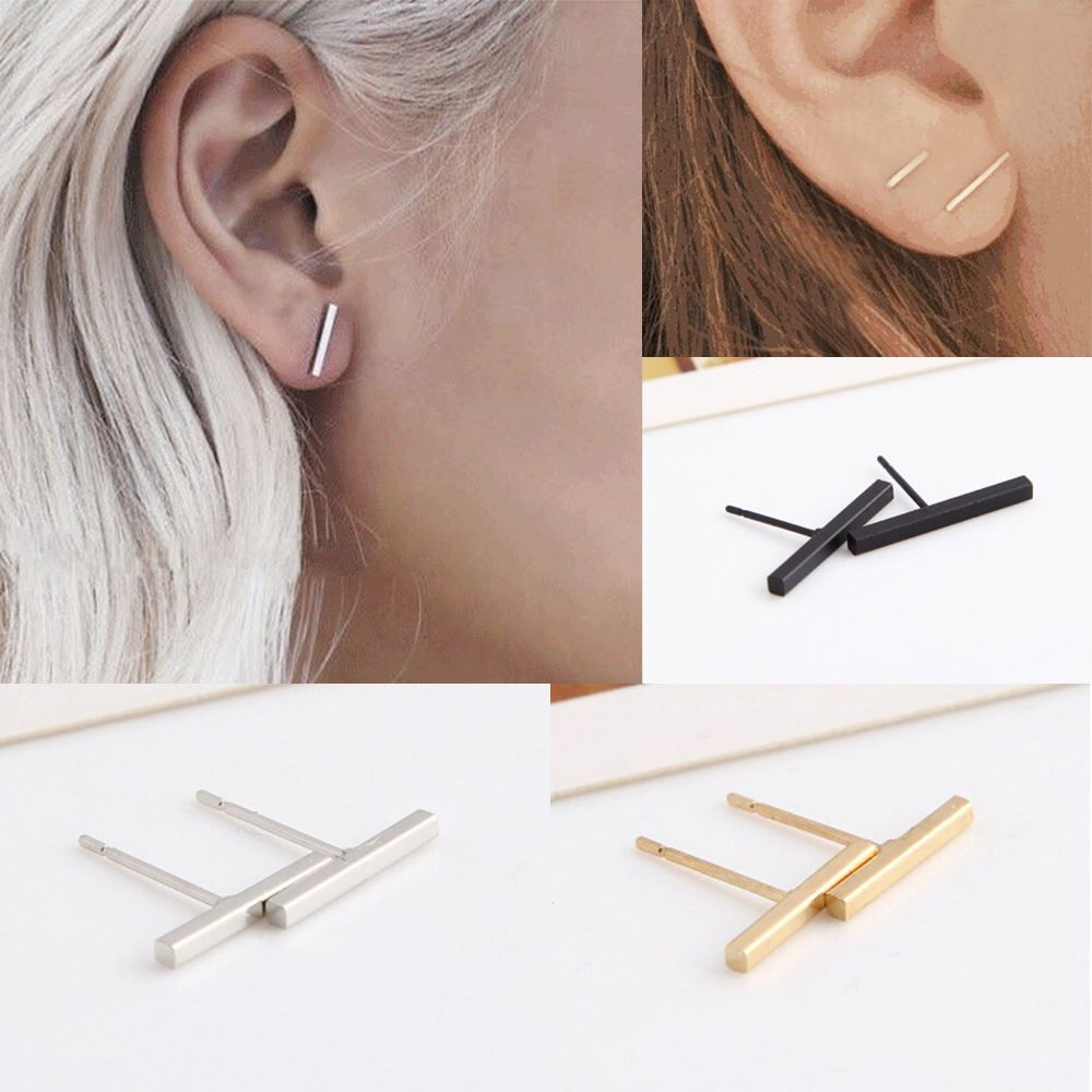 Fashion Simple Design Silver/Gold Tiny Bar fashionable Cute Stud Earrings #Unbranded #Stud
