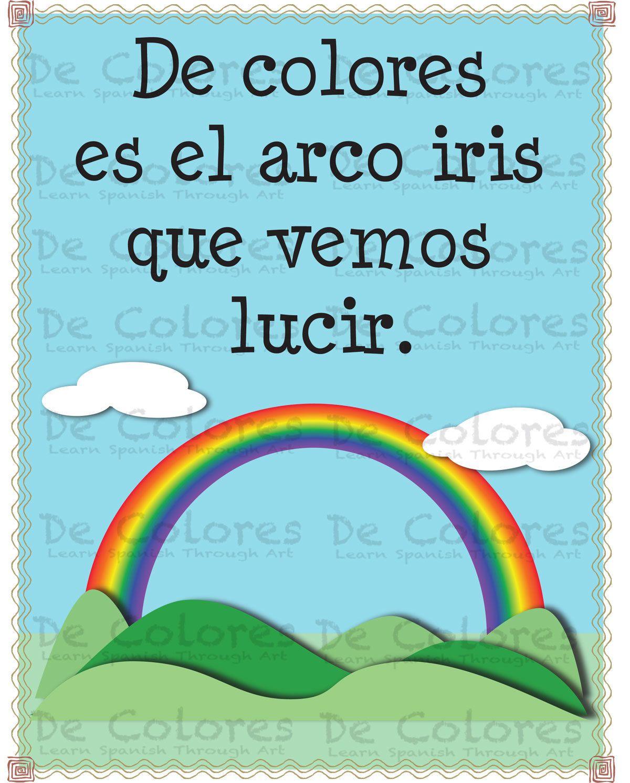 De Colores El Arco Iris Printable Spanish Language Children Wall